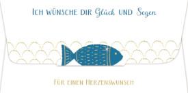 Kuvert f. Geld-/Gutscheingeschenk  ...Glück u. Segen (Fisch)